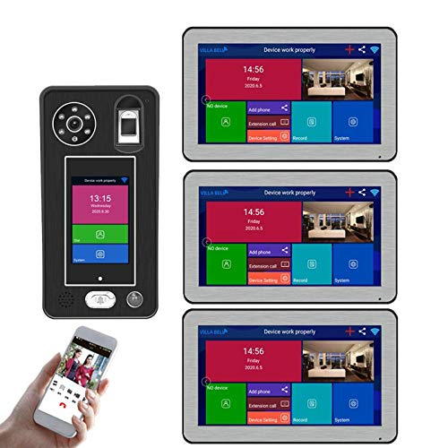QXue 10 Pulgadas Monitor Wireless WiFi Videoportero Intercomunicador,con 1080P Cámara Admite 500 Huellas Dactilares 500 Desbloqueo de Reconocimiento Facial (3-Monitors 1-Cámara)