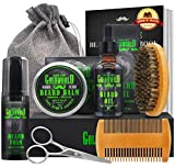 Beard Kit,Beard Growth Kit,Beard Grooming Kit,w/Beard Foam/Shampoo/Wash,Growth Oil,Balm Conditioner,Brush,Comb,Mustache Scissor,Storage Bag,E-Book,Beard Care&Trimming Trimmer Kit Gifts for Men Him
