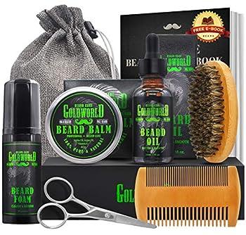 Beard Kit,Beard Growth Kit,Beard Grooming Kit,w/Beard Foam/Shampoo/Wash,Growth Oil,Balm Conditioner,Brush,Comb,Mustache Scissor,Storage Bag,E-Book,Beard Care&Trimming Trimmer Kit Gifts for Men Him