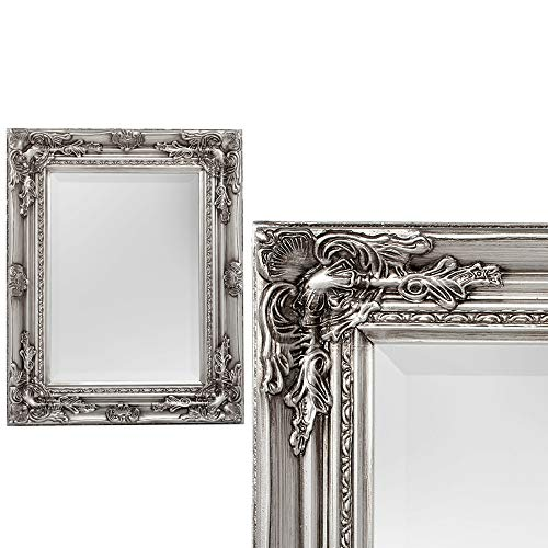 Spiegel House barock Antik-Silber ca. 40x50cm Wandspiegel Flurspiegel Badspiegel