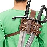 Banane Cinturón trasero de piel con espada retro medieval y espada de rana, accesorio para disfraz de vikingo, cosplay de Halloween
