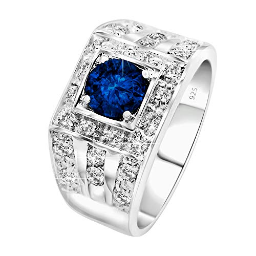 [2-5 Days Delivery] Men's Sterling Silver .925 High Polish Ring Featuring a Blue Round CZ Stone Surrounded by 30 Sparkling White Cubic Zirconia (CZ) Stones