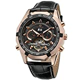 Forsining FSG340M3T3 Montre-bracelet pour hommes avec calendrier automatique et tourbillon