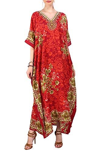 Miss Lavish London Frauen Damen Kaftan Tunika Kimono freie Größe Lange Maxi Party Kleid für Loungewear Urlaub Nachtwäsche Strand jeden Tag Kleider Rot EU 46-50