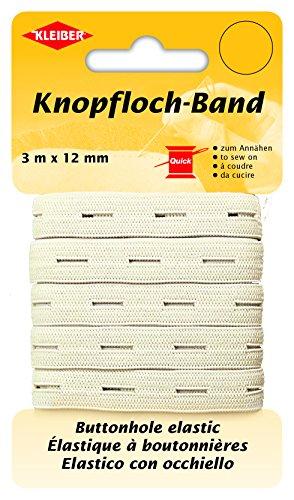 Kleiber Knopfloch-Band/Elastik Knopflochband, 58% Polyester, weiß, 300 x 1,2 x 0,05 cm