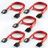 SATAケーブル,CableCreation [五本入れ] 18インチSATA III 6.0 Gbps 7ピン(メス) - (メス)データケーブル ロックラッチ付き 0.45m 赤色