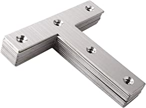Rannb Extra Thick Stainless Steel Angle Corner Brace Repair Brackets T Type Corner Code Flat Shape Repair Mending Plate - Pack of 10
