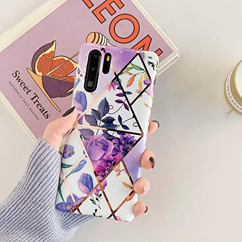 MoreChioce compatible avec Coque Huawei P30 Pro,Coque Huawei P30 Pro Marbre Or,Premium Géométrie Fleur Strass Glitter Silicone Housse de Protection Transparent Étui Bumper,Feuilles #3