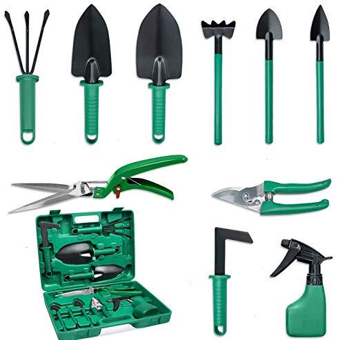 RedKids 10 herramientas de jardín con pala, pala, tijera de jardín, paleta para malas hierbas en maletín de transporte, mango ergonómico antideslizante, regalo para los amantes del jardín, color verde