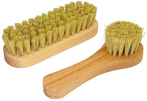 DELARA Eine kleine Schuhbürste und eine Cremebürste aus Naturborsten im Set- Farbe: Natur