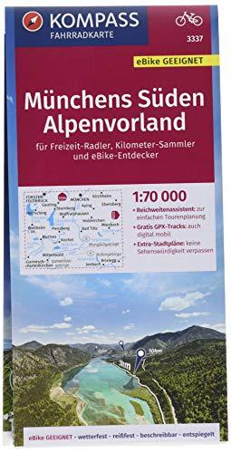 KOMPASS Fahrradkarte Münchens Süden, Alpenvorland 1:70.000, FK 3337: reiß- und wetterfest mit Extra Stadtplänen (KOMPASS-Fahrradkarten Deutschland, Band 3337)