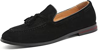 Black Penny Loafers for Men丨Premium Suede Leather Fashion Tassel Dress Loafers & Slip On Driving Shoes - Classic Solid Loafers for Men