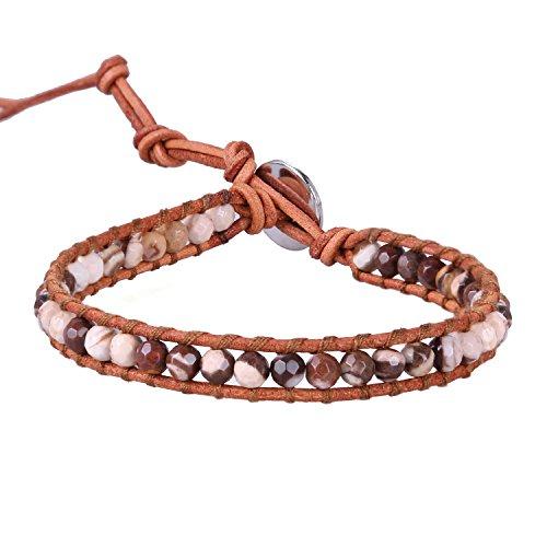 KELITCH Achat Perlen Strang Armbänder Leder Wrap Armband Handgemachte Manschette Einstellbar Armband Neue 2020 (Schokolade)