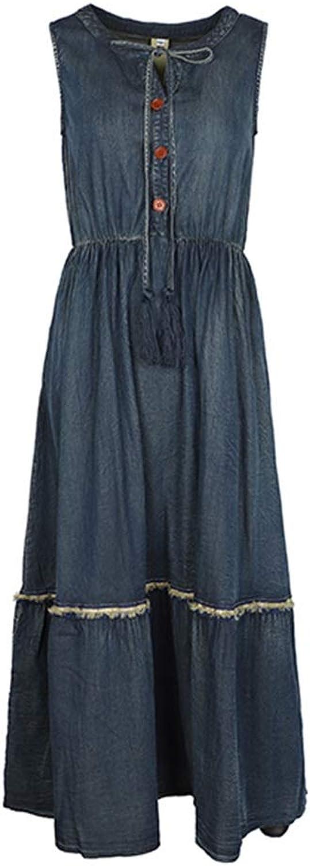 Denim Dress Female Summer Fashion Retro Sleeveless Waist Slimming Skirt (Size   L)