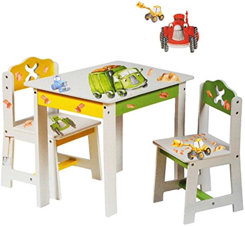 Alles-meine  GmbH 3 TLG. Set  Sitzgruppe für Kinder - aus sehr stabilen Holz - wei -  Bagger   Traktor & Auto  - Tisch + 2 Stühle   Kindermbel für Jungen & Mdchen - Kinder..