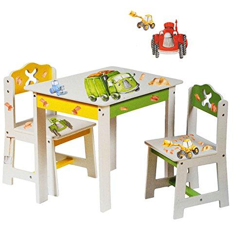 alles-meine.de GmbH 3 TLG. Set: Sitzgruppe für Kinder - aus sehr stabilen Holz - weiß - Traktor - Auto & Bagger - Tisch + 2 Stühle / Kindermöbel für Jungen & Mädchen - Kindertisc..