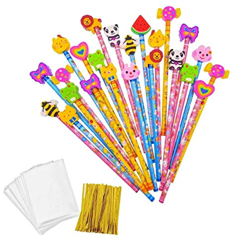 JZK 24 Colorful Pencil Set Birthday Pencils Fun Pencil Kids Pencils with Cartoon Rubber Eraser for Kids Children Party Favours Party Bag Filler Birthday Gift for boy Girl
