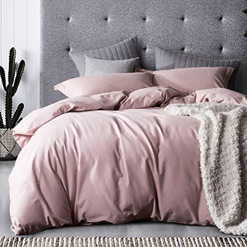 Lanqinglv Bettwäsche 155x220cm 2 Teilig Rosa Hellrosa Uni Weiche Mikrofaser Wendebettwäsche Mädchen Einfarbig Bettbezug mit Reißverschluss und Kissenbezug 80x80cm