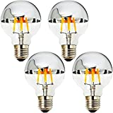 MD Lighting 4W Half Chrome Light Bulbs G25(G80), E26 Warm White 2700K 40W Equivalent 360lm Vintage Edison LED Decorative Bulbs with Silver Mirror for Indoor Dinning Room Living Room, 4-Pack, AC 110V