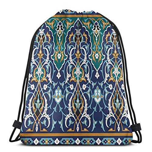 EU Marokko Oriental Petals Vintage Sporttasche für Frauen Männer Kordelzug Rucksack 36 x 43 cm / 14,2 x 16,9 Zoll