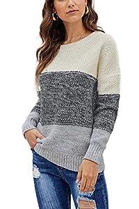 GOLDPKF Damen Plus Size Strickpullover Wintermode Kleidung Damen Loose Crewn Neck Mutterschaft Pullover Pullover Chunky Work Top Grau XL 48-50