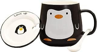 Cartoon Ceramic Mug with Spoon and Cup Lip,12 Ounce (Penguin)