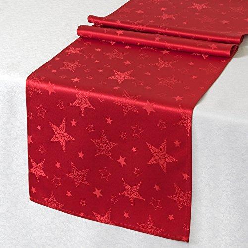 Kamaca Lotus Effekt Tischdecke Magic Stars mit Sternen Motiv - mit FLECKSCHUTZ - Flüssigkeiten perlen einfach ab Winter Weihnachten (Tischläufer 40x140 cm, Rot)