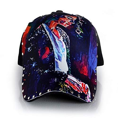 Baumwolle Einstellbare Schwarz Niet 3D Druck Michael Jackson Muster Baseball Cap Punk Hip Hop Sonnenhut mit Crooked Breiter Krempe für Männer und Frauen (Color : Black, Size : One Size)