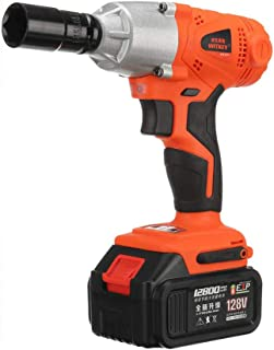 LKSDD Impact Wrench,Cordless Electric Wrench Impact Socket Wrench 128V 320Nm Lithium Battery Hand Drill Installation Power Tools,2batteries