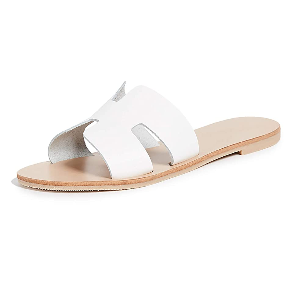 Huiyuzhi Womens Flat Sandals Open Toe Slides Slip On H Band Leather Summer Slipper Shoes