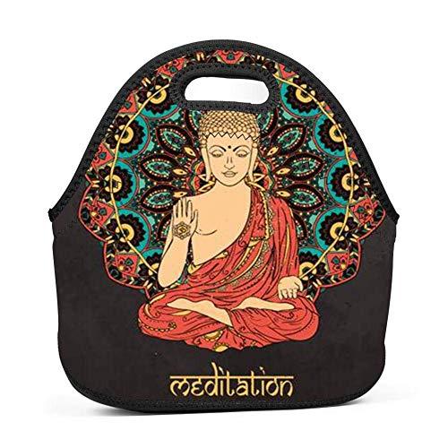Dozili Budda Buddismo Zen Art grandi e spessi neoprene lunch Bags lunch Tote Bags Cooler calda calda borsa con tracolla per le donne teenager ragazze bambini adulti