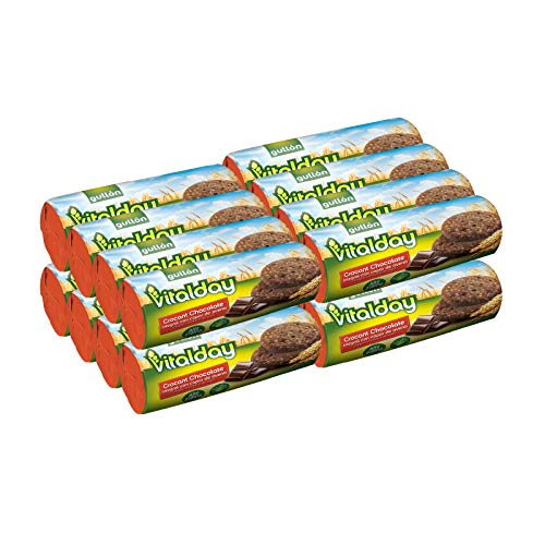 Gullón - Galletas crocant chocolate integral con avena Vitalday, 4.500 g, Pack de 16