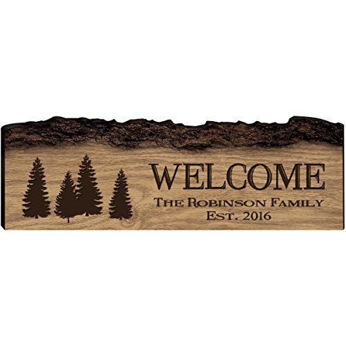 LifeSong Milestones Personalized Welcome Home Custom Sign Engraved with Family Names with Established Date (Welcome)