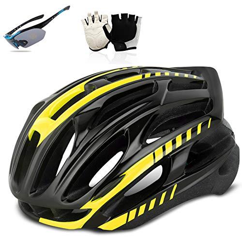 HVW Casco de Bicicletas para Adultos, Cascos de Ciclismo de Carretera y montaña con Guantes y Gafas Ligeras Transpirable Bicicleta de Bicicleta tamaño Ajustable Hombres/Mujeres,Amarillo