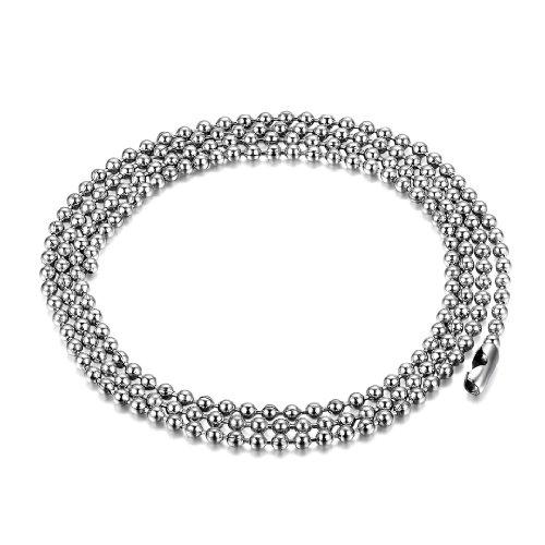 JewelryWe Schmuck Edelstahl Unisex Herren Halskette Kugel Korn Link Kette Kugelkette, Silber 50cm 2mm Breite