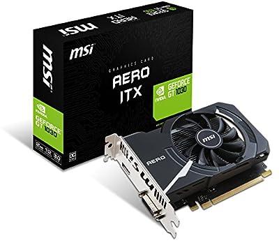 MSI NVIDIA GEFORCE GT 1030 AERO ITX 2G OC Graphics Card 2 GB GDDR5, 1518 MHz, mini ITX Design, HDMI, DVI-D, Single Fan Cooling System, Black