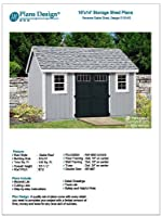 Utility Garden Shed Plans 10' x 14' Reverse Gable Roof Style, Material List Included, Design # D1014G by Plans Design