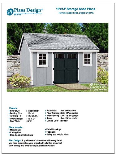 Utility Garden Shed Plans 10' x 14' Reverse Gable Roof Style, Material List Included, Design # D1014G