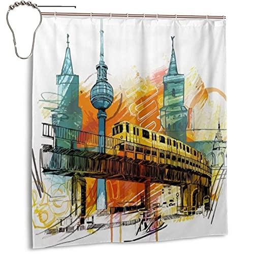 KENADVI Waschbar Bad Duschvorhang,LUE Painting Berlin Gelb Deutschland Gebäude,Mit Haken Wasserdicht Polyester Stoff Badezimmer Dekor 66X72 In