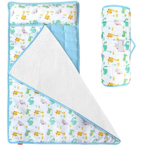Moonsea Nap Mat for Toddlers Dinosaur with Removable Pillow and Fleece Minky Blanket, Lightweight Perfect for Kids Preschool, Daycare, Travel Sleeping Bag Boys Girls, Designed to Fit on a Standard Cot