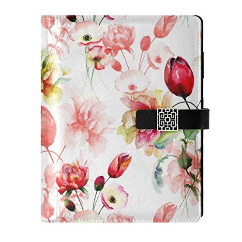 Cuaderno de cuero para diario diario de viaje, flores de viaje, rellenables, tamaño A5, encuadernador de anillas – Tapa dura, regalo para hombres y mujeres