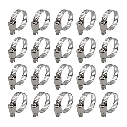 Roadformer Hose Clamp Stainless Steel 29mm - 44mm Adjustable Worm Drive Duct Clamp with Narrow Band Pipe Clamp Worm Gear Clamp Air Ducting Clamp (20 Pack, 29mm - 44mm)