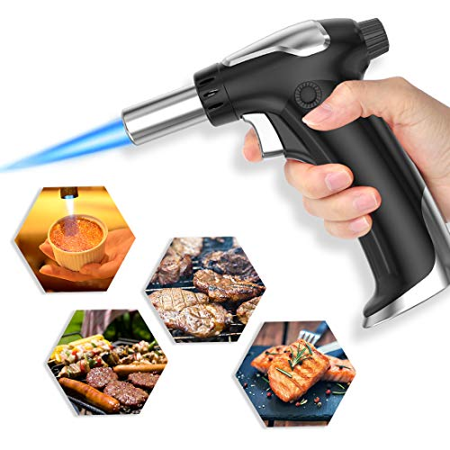 XIMU Blow Torch, Kitchen Cooking Torch Lighter Refillable, Adjustable Flame Blow Torch, Portable Cooking Blowtorch for…