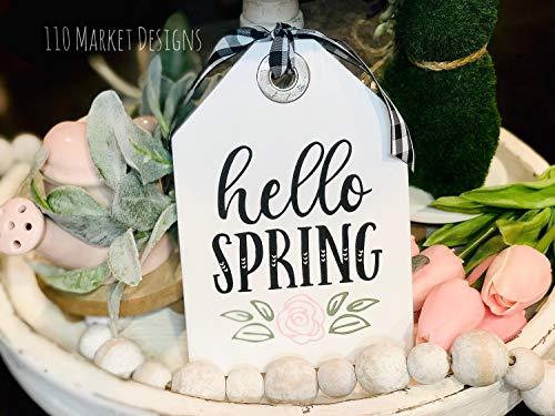 unknow Hello Spring Anhänger Frühlingsdekoration Holzschild Frühlingsdeko Ostern Bauernhaus Etagere Tablett Schild Kaffee Bar Mini Schild Kakao Bunny