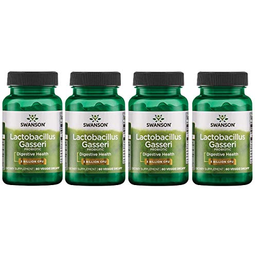 Swanson Lactobacillus Gasseri 3 Billion CFU Digestive Health Fat Metabolism Satiety Probiotic Supplement 60 Veggie Capsules (Acid-Resistant Designed-Release) (4 Pack)