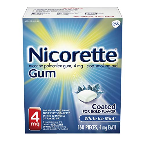 Nicorette Nicotine Gum to Quit Smoking, 4 mg, White Ice Mint Flavored Stop Smoking Aid, 160 Count (Pack of 1)