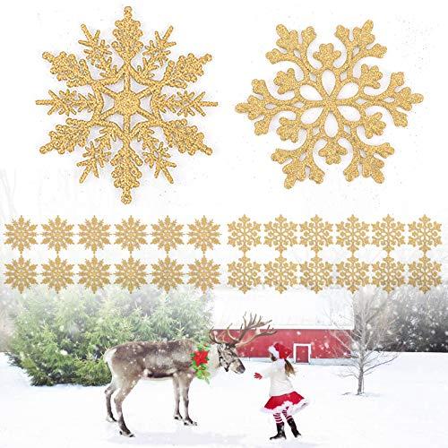 Yisscen 24pcs Ornamenti di Fiocchi di Neve in plastica Glitterata Inverno Natale Ornamenti con Fiocchi di Neve appesi, Decorazioni per la casa del Partito di Festa dell'albero di Natale(Oro)