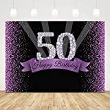 50th Birthday Backdrop for Women Men Purple Happy 50th Birthday Background 7x5ft Glitter 50 Birthday Backdrops for Photography Diamond Fifty Birthday Party Decorations 50 Years Banner Photo Booth