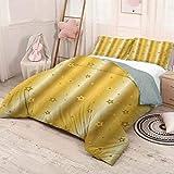 HELLOLEON Retro Pack de 3 (1 funda de edredón y 2 fundas de almohada) Ropa de cama de fondo vibrante con figuras de estrella iconos abstractos diseño artístico impresión poliéster (Queen) amarillo