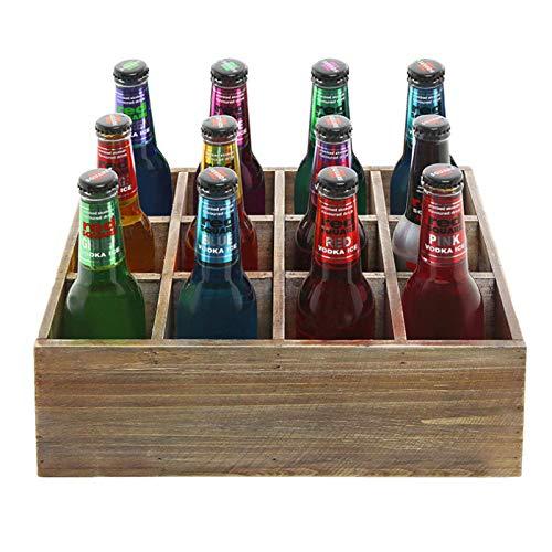 JUUY Caja de Almacenamiento de Cerveza, 12 Cajas de Cerveza, Caja de envasado de Cerveza de Pino marrón rústico Antiguo, Caja de Madera Antigua, Adecuado para Almacenamiento, Pantalla, decoración